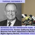 REYNOSO IN THE TRANSITION TEAM. ALSO, NAPOLITANO NOMINATION.